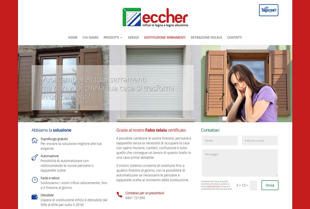 Realizzazione siti web trento - falegnameria-eccher 2